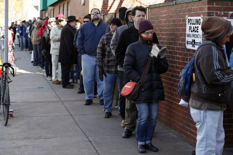 Voter standing in line for hours for an opportunity to vote in 2012